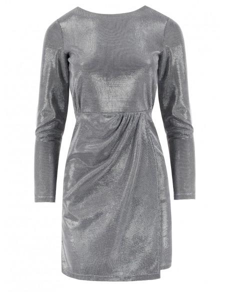 Sukienka z podwójnym dołem - ciemno-szara