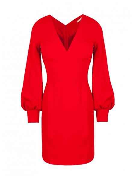 Sukienka z bufiastymi rękawami - czerwona