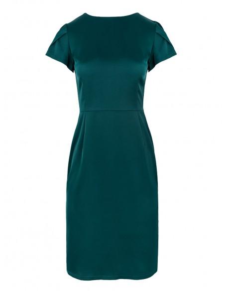 Sukienka z dekoltem typu woda z tyłu - zielona