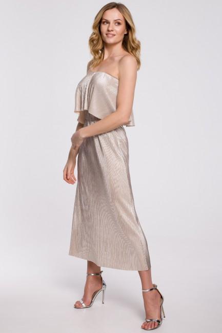 CM5249 Metaliczna sukienka...