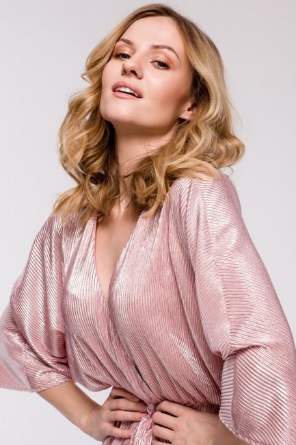 Sukienka kimono z metalicznej tkaniny - różowa