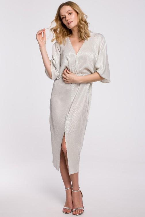 CM5250 Sukienka kimono z metalicznej tkaniny - srebrna