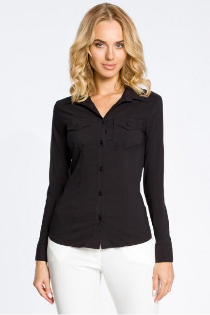 Klasyczna taliowana gładka koszula - czarna