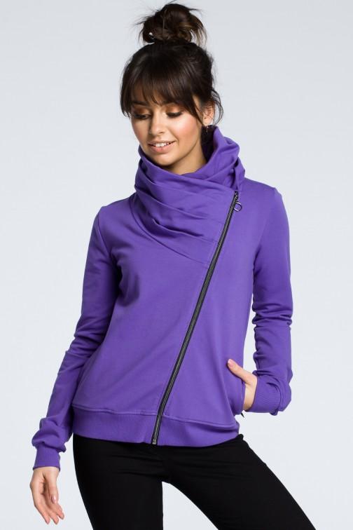 CM3608 Bluza z ukośnym zamkiem - fioletowa