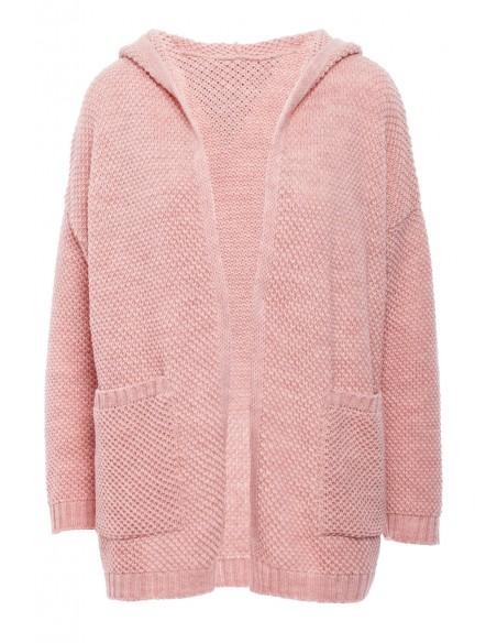 Kobiecy kardigan z kapturem - różowy