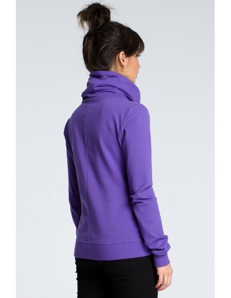 Bluza z ukośnym zamkiem - fioletowa
