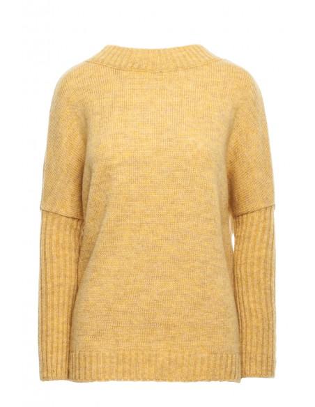 Gruby sweter ze ściągaczem w rękawie - musztardowy