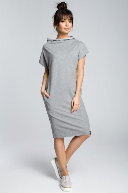 Bawełniana sukienka klepsydra - szary melanż