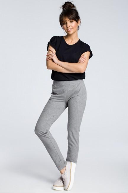 Stylowe spodnie z przeszyciami - szary melanż