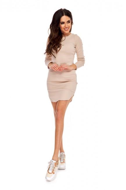 Dopasowana bawełniana sukienka mini - beżowa