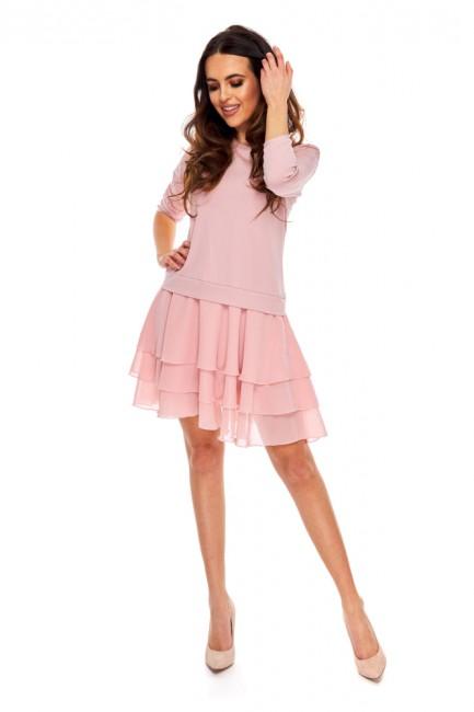 Luźna sukienka z falbankami - różowa
