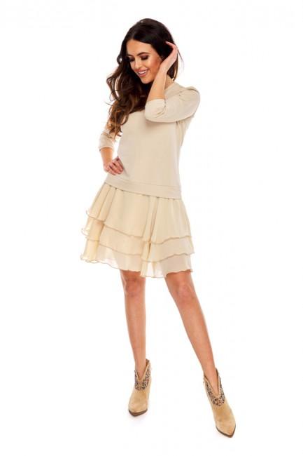 Luźna sukienka z falbankami - beżowa