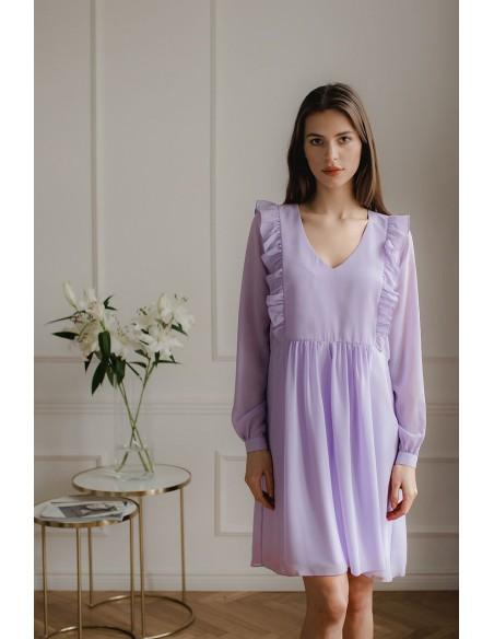 Luźna zwiewna szyfonowa sukienka - fioletowa