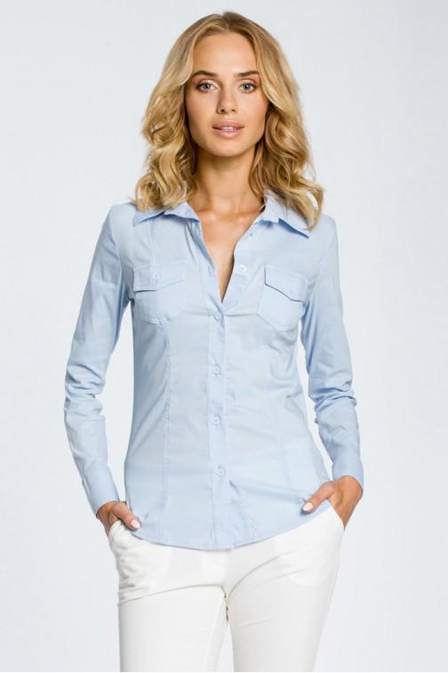 CM0270 Klasyczna taliowana gładka koszula - błękitna