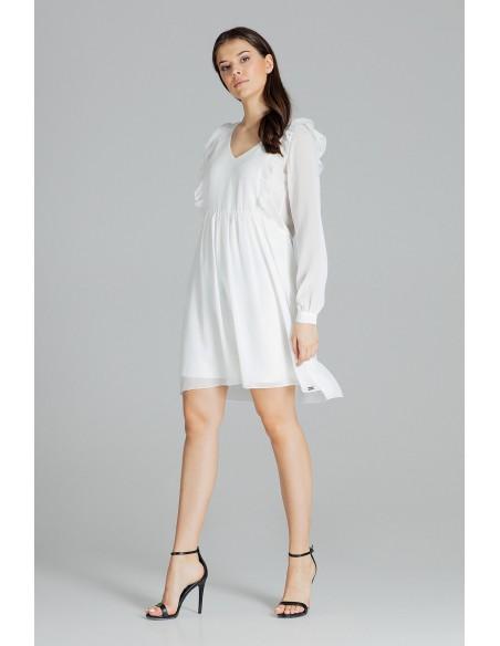 Luźna zwiewna szyfonowa sukienka - ecru