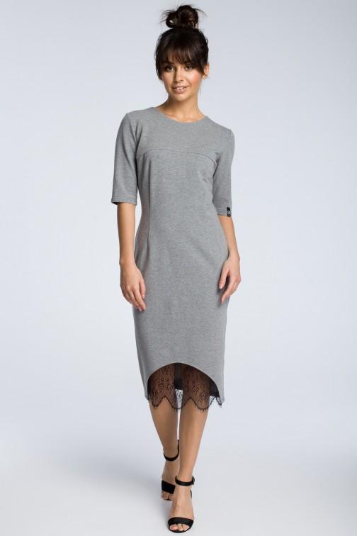 CM3615 Sukienka z wycięciem i wstawką z koronki - szara