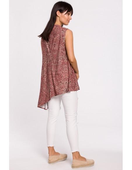 Asymetryczna bluzka bez rękawów - łososiowa