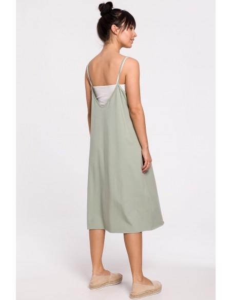 Sukienka warstwowa na ramiączkach - pistacjowa