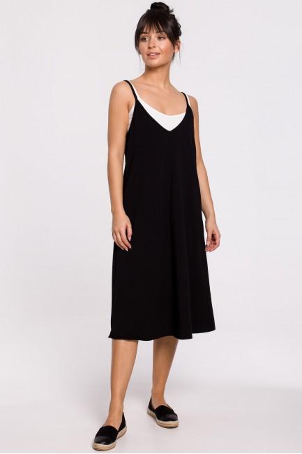 Sukienka warstwowa na ramiączkach - czarna