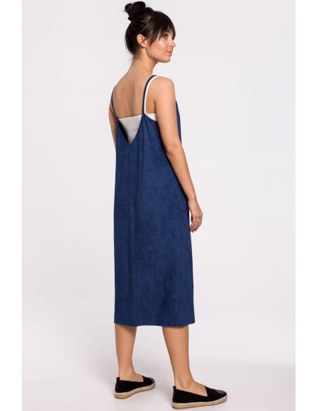 Sukienka warstwowa na ramiączkach - denim
