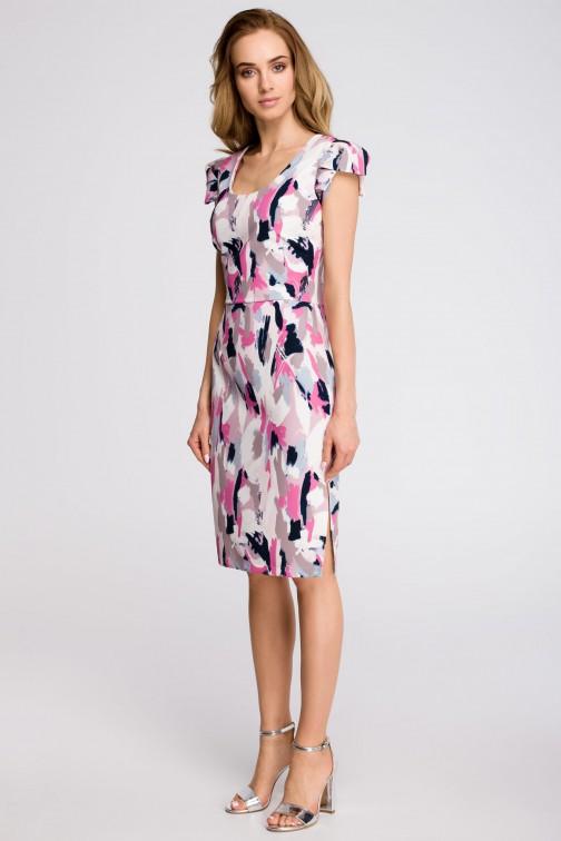 CM3617 Ołówkowa sukienka z dekoltem i krótkimi rękawami - model 1