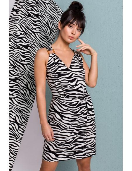 Sukienka długości mini z wiązaniem na boku - biała