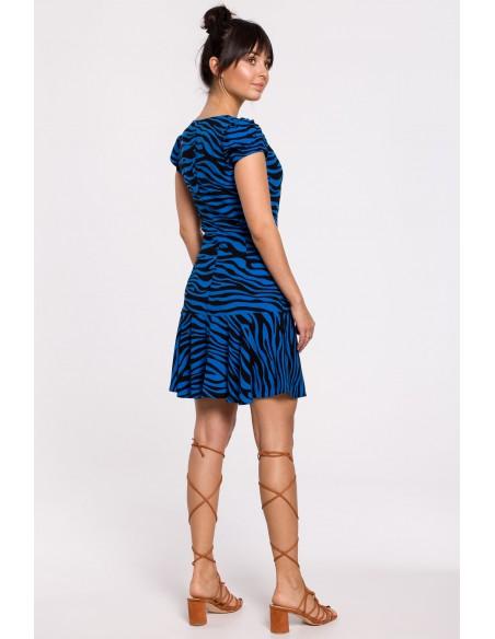 Sukienka z nadrukiem i falbanką - chabrowa