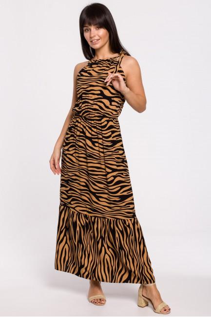 Sukienka maxi z nadrukiem i wiązaniem przy szyi - karmelowa