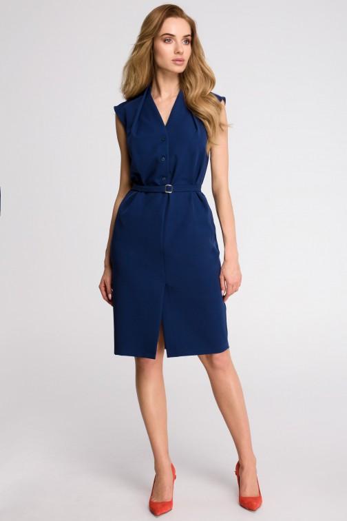 CM3618 Sukienka szmizjerka bez rękawów - granatowa
