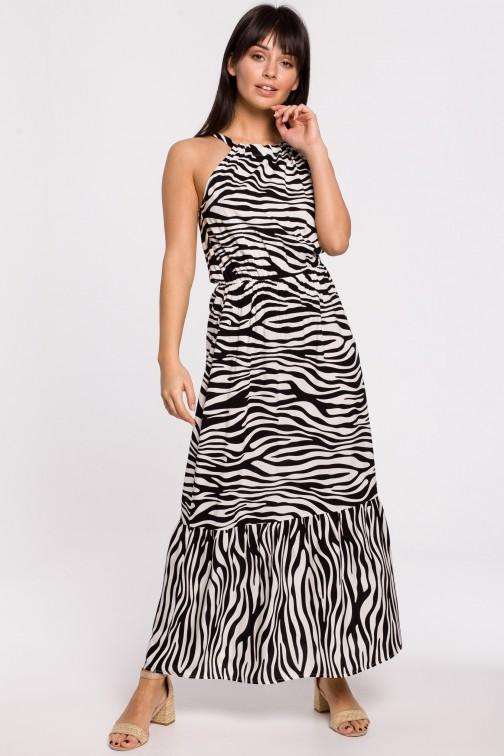 Sukienka maxi z nadrukiem i wiązaniem przy szyi - biała