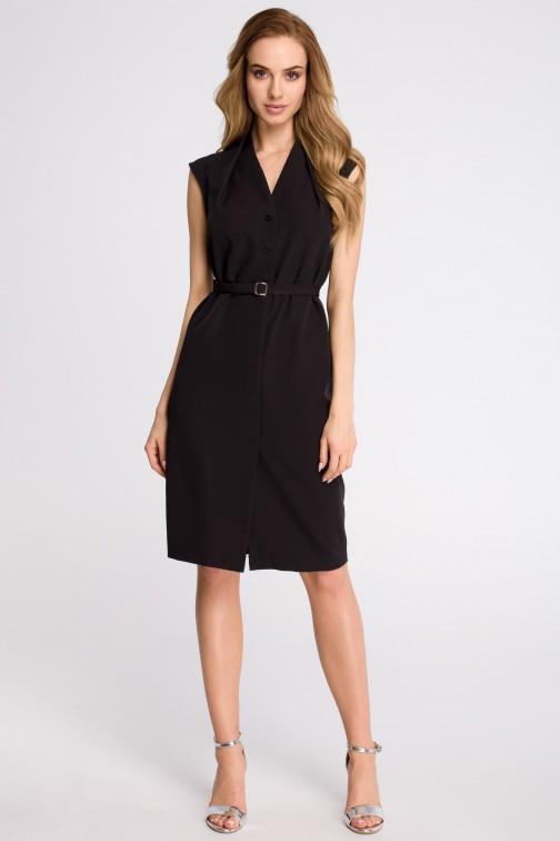 CM3618 Sukienka szmizjerka bez rękawów - czarna