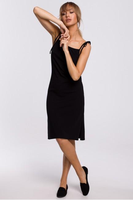 Sukienka midi na cienkich ramiączkach - czarna
