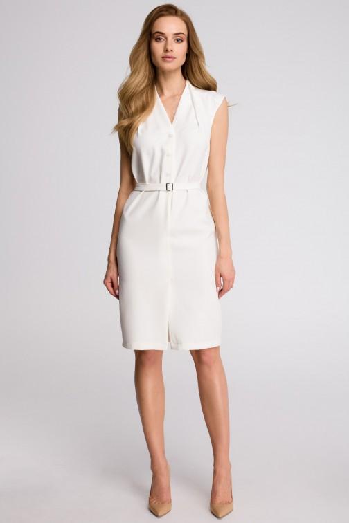 CM3618 Sukienka szmizjerka bez rękawów - ecru