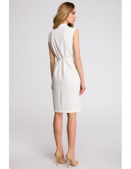Sukienka szmizjerka bez rękawów - ecru