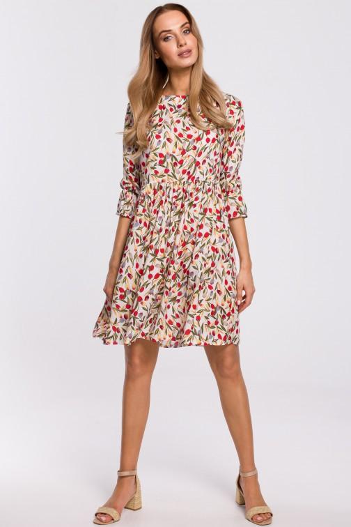 CM5312 Sukienka z krótkimi rękawami z falbanką - model 5