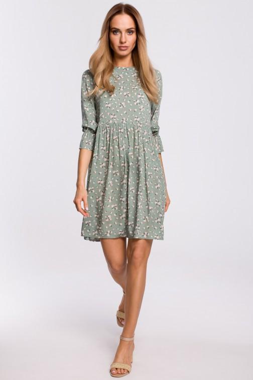 CM5312 Sukienka z krótkimi rękawami z falbanką - model 7