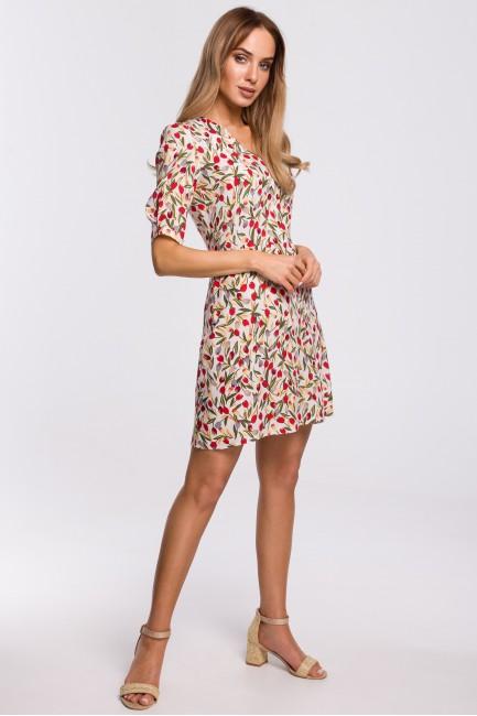 Sukienka mini z krótkimi rękawami - model 5