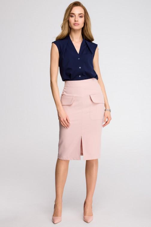 CM3619 Spódnica z kieszeniami z przodu - pudrowa