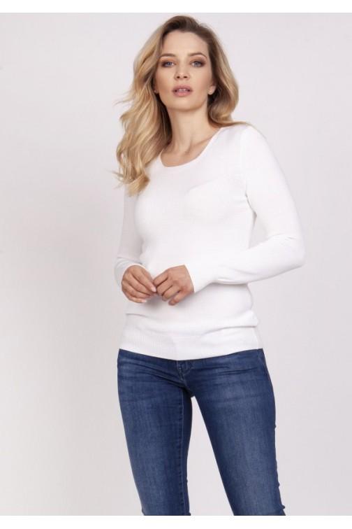 CM5316 Klasyczna bluzka z długim rękawem - biała