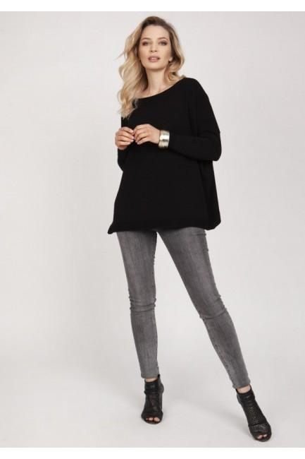 Bluza oversize z dekoltem w łódkę - czarna