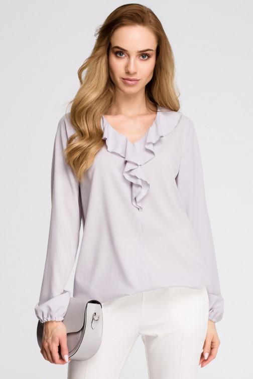 CM3620 Bluzka z żabotem - szara