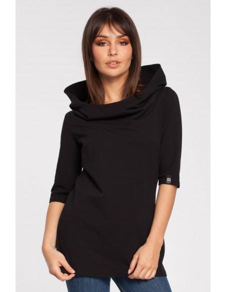 Stylowa bluza z kapturem - czarna OUTLET