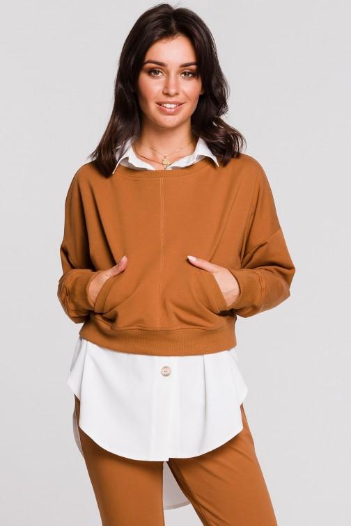 CM4600 Stylowa krótka bluza - karmelowa OUTLET