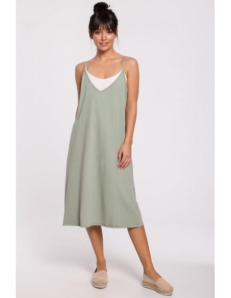 Sukienka warstwowa na ramiączkach - pistacjowa OUTLET