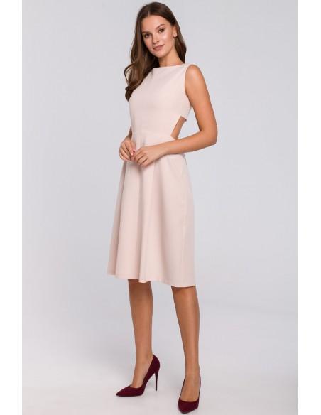 Sukienka z odkrytymi plecami - beżowa OUTLET