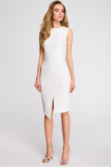 Sukienka z asymetrycznym rozcięciem z przodu - ecru