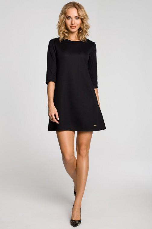 CM0286 Gładka tunika sukienka trapezowa - czarna OUTLET