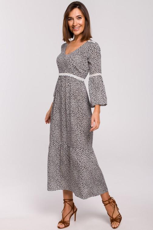 CM5323 Sukienka maxi z koronkowymi wstawkami - model 2