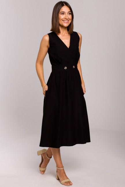Sukienka bez rękawów z rozkloszowanym dołem - czarna