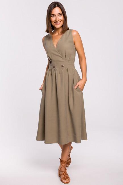 Sukienka bez rękawów z rozkloszowanym dołem - khaki
